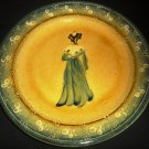 ANTIQUE PLATE FRENCH POTTERY GLAZED CERAMIC HANDPAINTED WOMAN FRANCE