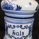VINTAGE ORIGINAL DELFT BLOOMING ONION SALT CERAMIC CANISTER SIGNED