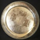 "ANTIQUE SILVERPLATED HAND CHASED INTRICATE EMBOSSED 13"" TRAY CHELTENHAM ENGLAND"