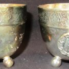 GORGEOUS SILVERPLATED CUP BEAKER BALL FEET SET OF 2 INSCRIBED SR
