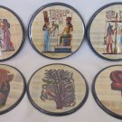 EGYPTIAN THEME COASTERS SET OF 6 CARDBOARD ENCASED IN PLASTIC FELT LINED