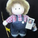 CUTE VINTAGE DOLMAX LITTLE BOY FISHERMAN DOLL MUSIC BOX DOES NOT PLAY