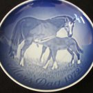 ROYAL COPENHAGEN BLUE PORCELAIN HORSES PLATE MOTHER'S DAY 1972 DENMARK 6""