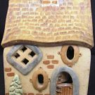 CHRISTMAS ART POTTERY VILLAGE LIGHT UP HOUSE ARTIST SIGNED need identification