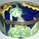 HANDPAINTED PORCELAIN HINGED TRINKET BOX WITH SURPRISE - METAL ACORNS & PINECONE