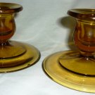 VINTAGE AMBER GLASS CANDLE HOLDERS CANDLEHOLDERS SET OF 2