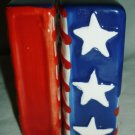 JULY 4 THEME PATRIOTIC HANDPAINTED CERAMIC SALT & PEPPER SHAKERS SET US FLAG