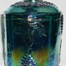 VINTAGE HARVEST GRAPE INDIANA GLASS LIDDED CANISTER CARNIVAL GLASS BLUE GREEN