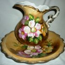 VINTAGE ARDCO JAPAN CHINA PITCHER & BASIN BOWL HANDPAINTED FLOWERS C2100