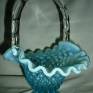 BEAUTIFUL FENTON BLUE WHITE FROSTED HOBNAIL CANDY BASKET W/HANDLE BOWL VINTAGE