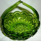 LE SMITH EMERALD GREEN MOON & STARS SPLIT HANDLE BON BON DISH BOWL BASKET