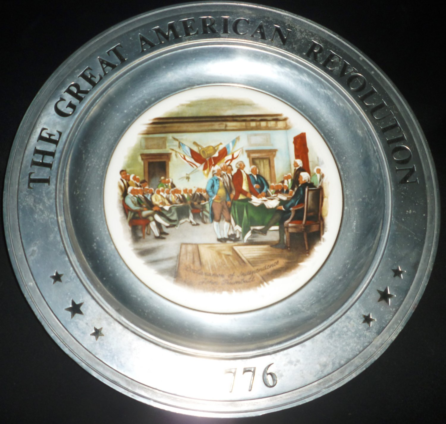 GREAT AMERICAN REVOLUTION CANTON PVK PEWTER PLATE DECLARATION OF INDEPENDANCE