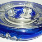 STUNNING VINTAGE CZECH BOHEMIAN CUT BLUE TO CLEAR CRYSTAL ASHTRAY STARS PATTERN