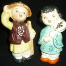 VINTAGE ANTIQUE ORIENTAL MAN & WOMAN FIGURAL SALT & PEPPER SHAKERS JAPAN