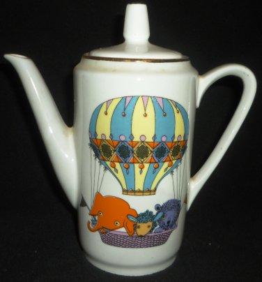 VINTAGE KAHLA GERMANY PORCELAIN COFFEE TEA POT CHILD'S CHINA CARTOON ANIMALS