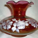 VINTAGE FENTON CRANBERRY GLASS VASE PAINTED FLOWERS ROSES GARDEN FLOWERS RUFFLED