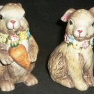 CHARMING EASTER DECORATION BUNNY RABBIT FLOWERS PORCALAIN SALT & PEPPER SHAKERS
