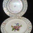 VINTAGE PORCEAIN LACED EDGE FLOWER DESIGN DECORATIVE PLATE SET OF 2