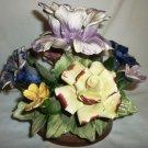 VINTAGE CAPODIMONTE ITALY ARTE GAIA HANDLAINTED CERAMIC FLOWERS VASE FIGURINE