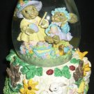 EASTER EGG WATER GLOBE MUSIC BOX HAPPY BUNNIES