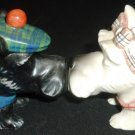 VINTAGE SCOTTISH CERAMIC TERRIER DOG SALT & PEPPER SHAKERS KISSING MAGNETIC