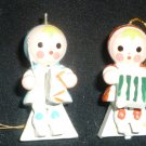 VINTAGE TRIM A TREE HANDPAINTED WOODEN CHRISTMAS 4 ORNAMENTS MUSICAL KIDS