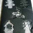 GORGEOUS CHRISTMAS HOUSE SPUN GLASS ORNAMENTS SET 5 TREE BIRD TREE ANGEL BASKET