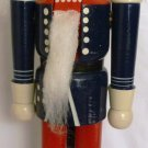 WOODEN NUTCRACKER PRINCE CHRISTMAS HANDPAINTED BLUE UNIFORM TOP HAT