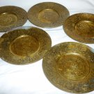 VINTAGE SOLID BRASS BRONZE TURKISH DECORATIVE COASTERS SET OF 6