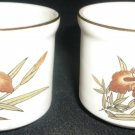 VINTAGE FINE CHINA OF JAPAN ORCHIRD SET OF 2 EGG CUP CONDIMENT CANDLEHOLDER SALT