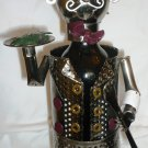 WHIMSICAL UNIQUE ARTIST CRAFTET WINE BOTTLE HOLDER WROUGHT METAL WAITER MUST SEE!