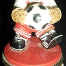 CHARMING STAR SOCCER PLAYET 'GOOAL' FIGURINE BEAR TRINKET BOX BY CLAIRE'S