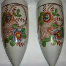 ANTIQUE HOTTA YU SHOTEN PORCELAIN HANDPAINTED WALL POCKET SET OF 2 JAPAN #2748