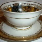VINTAGE BONE CHINA GOLD GILDED CUP & SAUCER BERLIN JAEGER PMR BAVARIA GERMANY