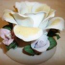 VINTAGE CAPODIMONTE PORCELAIN FLOWERS CANDLEHOLDER