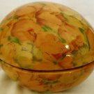 GORGEOUS PORCELAIN ENESCO TRINKET BOX EASTER EGG SPRING GARDEN
