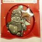 HOLIDAY TIME COLLECTIBLE CHRISTMAS ORNAMENT PEWTER SNOW MAN W/SWAROVKI CRYSTALS