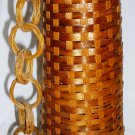 VINTAGE UNIQUE WICKER RATTAN WAVED COVERED WIND CHIME BELL