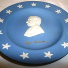 WEDGWOOD JASPERWARE ROGER SHERMAN BLUE & WHITE PLATE SIGNED