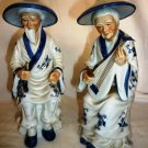 VINTAGE PORCELLAIN JAPANESE FIGURINE ELDERY COPULE PLAYING MUSICAL INSTRUMENTS