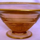 ANTIQUE TIFFIN PINK GLASS GOLD ENCRUSTED CONSOLE PEDESTAL CENTER PIECE BOWL