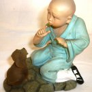 CHARMING FIGURINE ORIENTAL CHINESE BOY WITH THE DOG