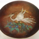VINTAGE PEDESTAL BOWL DISH COPPER WITH PAINTED STORK BIRD