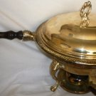 VINTAGE SILVERPLATED ROUND CHAFING LIDDED DISH WITH GLASS LINER