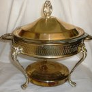 VINTAGE SILVERPLATED ROUND CHAFING LIDDED DISH W/ GLASS LINER PERFORATED DESIGN