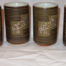 VINTAGE '50TH GREEN TEA CUPS LUCK PROSPERITY SET OF 6 JAPAN STONEWARE
