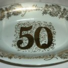 VINTAGE NOROREST FINE CHINA OVAL PLATTER 50TH GOLDEN ANNIVERSARY GOLD EMBOSSED