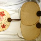 JAPANESE ANTIQUE HAND HELD NOT FOLDABLE FANS SET OF 3 FLOWER APPLIQUE