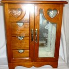 LIGHT CHERRY WOOD ARMOIRE JEWELRY BOX WITH DRAWERS AND DOOR