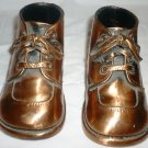 VINTAGE COPPER PLATED LEATHER BABY BOOTIES SHOES FIGURINE